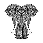 Decorative elephant front view with stylized ornament hand drawn vector illustration