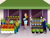 Flower shop window display and customer with bunch of tulips at the entrance banner abstract vector illustration