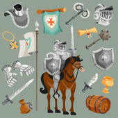 Knights armor fairy tale cartoon icons set isolated vector illustration