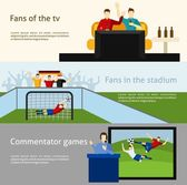 Soccer world cup tv spectators and fans at the stadium flat banners set abstract isolated vector illustration