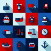 Seaport color flat shadows  icons set with cargo ships and port facilities isolated vector illustration