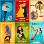 Jazz playing musicians and classical symphony orchestra conductor 6 flat banners composition poster abstract isolated vector illustration