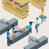 People at the shopping line paying for food and drinks isometric vector illustration