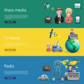 Horizontal banners set of mass media industry with news presenters tv and radio broadcasting cartoon vetor illustration