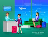Vector detailed characters people in airport lounge Woman goes VIP lounge Airport gives her credit card Receptionist waiting hall flat  illustration