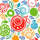 Seamless Pattern of beautiful apples and leaves