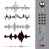 Sound waves set Audio equalizer style Music Set of 12 Circle Media Buttons Map Vector Illustration