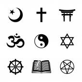 World religion symbols set with - christian Jewish Islam Buddhism Hinduism Taoism Shinto pentagram and book as symbol of doctrine Vector illustration
