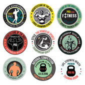 Set Bodybuilding and fitness gym logos emblems and design elements Vector Set of colored labels badges: sports hall a beautiful body sports equipment