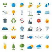 Ekologie ploché ikony nastaven izolovaných na bílém