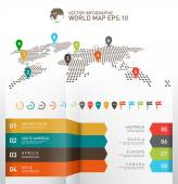 World map infographics Digital world map with pointer marks editable vector illustration eps-10