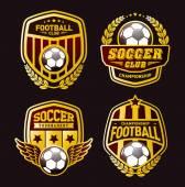 Football Championship Winner Gold Emblem Set of soccer football crests and logo emblem designs Vector Illustration EPS-10