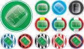 Vector illustration of realistic soccer stadium button different variables clubs nations