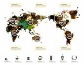 Global map with coffee themed infographic elements vector illustration