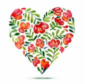 Love card with watercolor floral bouquet Poppy flower vector illustration with heart form