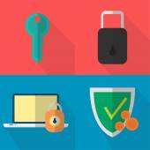 Set of great flat icons with style long shadow icon and use for security protection privacy safety and much more