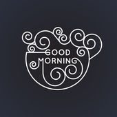 Good morning - vector geometric inscription in trendy mono line style - art deco black and white