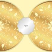 Background image with two circular horizontal ornaments of gold color with a tag Vector