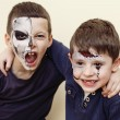 ������, ������: Zombie apocalypse kids concept Birthday party celebration facepaint on children dead bride scar face skeleton together