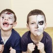 ������, ������: Zombie apocalypse kids concept Birthday party celebration facepaint on children dead bride scar face zombi skeleton together