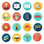 Architecture Interior design and repairs vector icons set