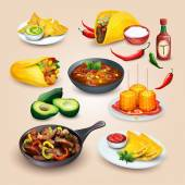 Mexican food. Objects set