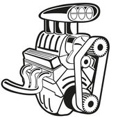 Vector illustration of the engine Clip art