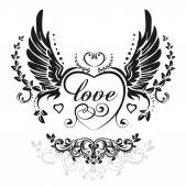 Black wings with decorative heart and leafs illustration isolated on white