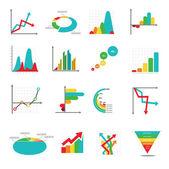 Sada obchodní marketingové tečka bar výsečové grafy diagramy a grafy