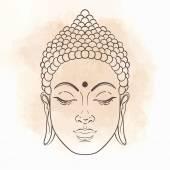 Buddha golden face close up Vector illustration
