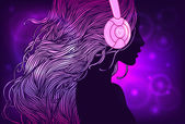 Disco Party DJ girl: Profile of pretty girl with long hair in headphones Vector illustration