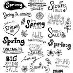 Постер, плакат: Doodle Spring Vector Set