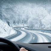 Winter Driving - Curvy Snowy Country Road