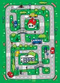 Children vector illustration of labyrinth of roads grass areas byilding and cars