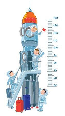 Постер, плакат: Meter wall with rocket and boys astronauts, холст на подрамнике