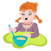 Girl sitting at the table and eating porridge large spoon
