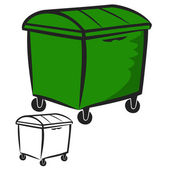 Vector illustration : Garbage Bin on a white background