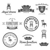 Collection of vintage logo badgeemblem and logotype elements for furniture shop