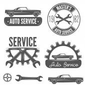 Set of logo badge emblem and label element for mechanic garage car repair or auto service