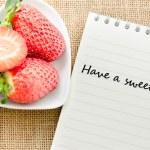 Постер, плакат: Blank paper diary with fresh strawberries