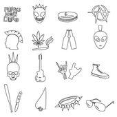 Various black punk outline icons set eps10