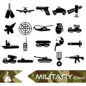 Vojenské téma jednoduché černé ikony nastavit eps10
