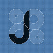 Round engineering font Symbol J Vector illustration in eps10