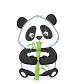Clipart picture of a panda cartoon character eating bamboo