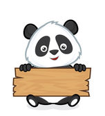 Clipart picture of a panda cartoon character holding a plank of wood