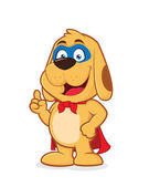 Clipart picture of a superhero dog cartoon character