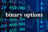 Words binary options  with the trading data on the background.