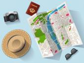 Travel - tourist map and other equipment illustration