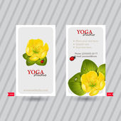 Business card with naturalistic floral composition for yoga studio or club Vertical template