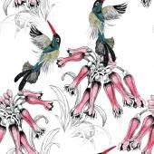 Madarak ágon virágokkal